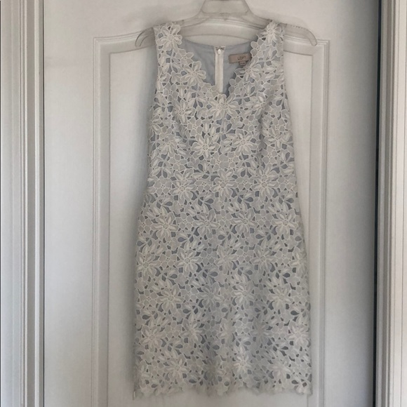 LOFT Dresses & Skirts - LOFT White Lace Dress with Blue lining.